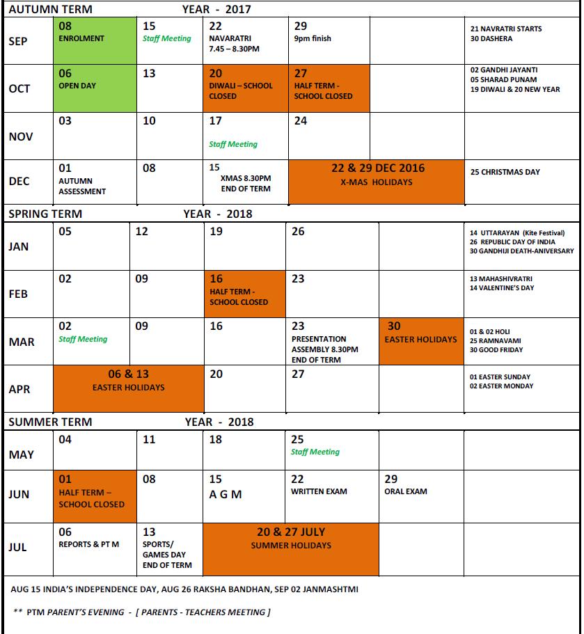 Calendar   Kingston upon Thames Gujarati School